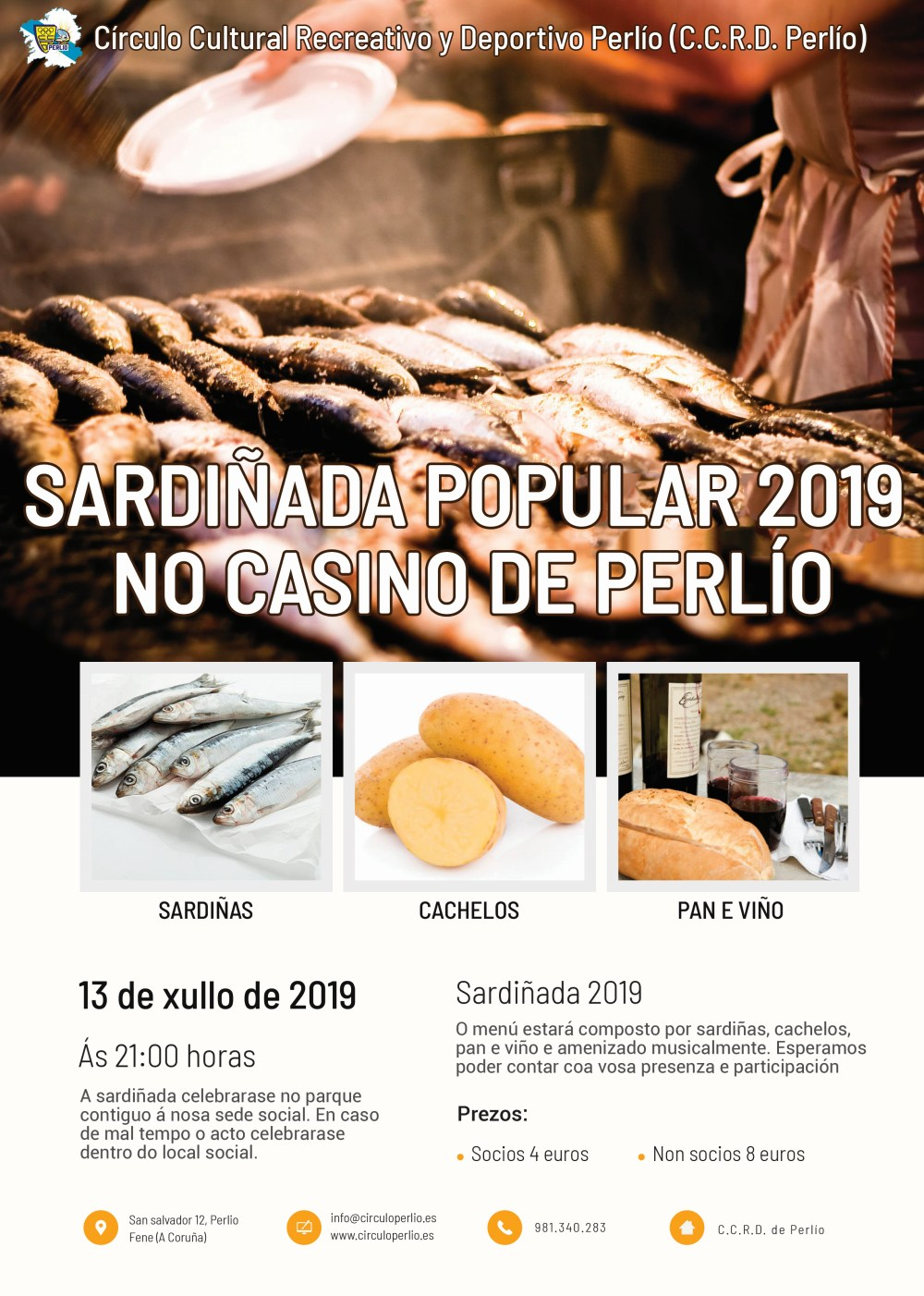 Sardiñada popular 2019 no Casino de Perlío